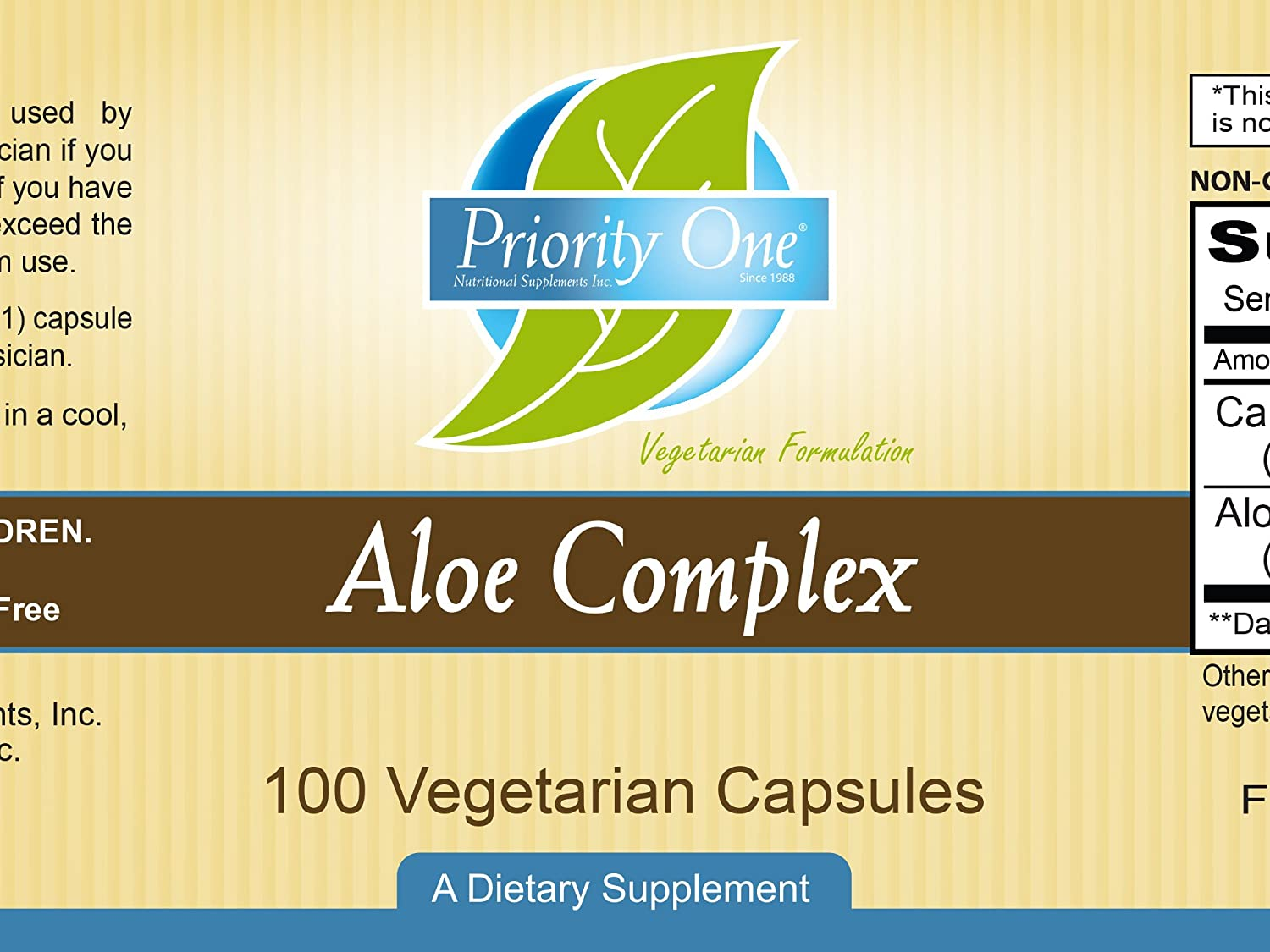 Priority One Vitamins Aloe Complex 100 Vegetarian Capsules Wild Crafted Cape Aloe Aloe ferox and a 200 1 Leaf Gum Extract of Aloe Vera