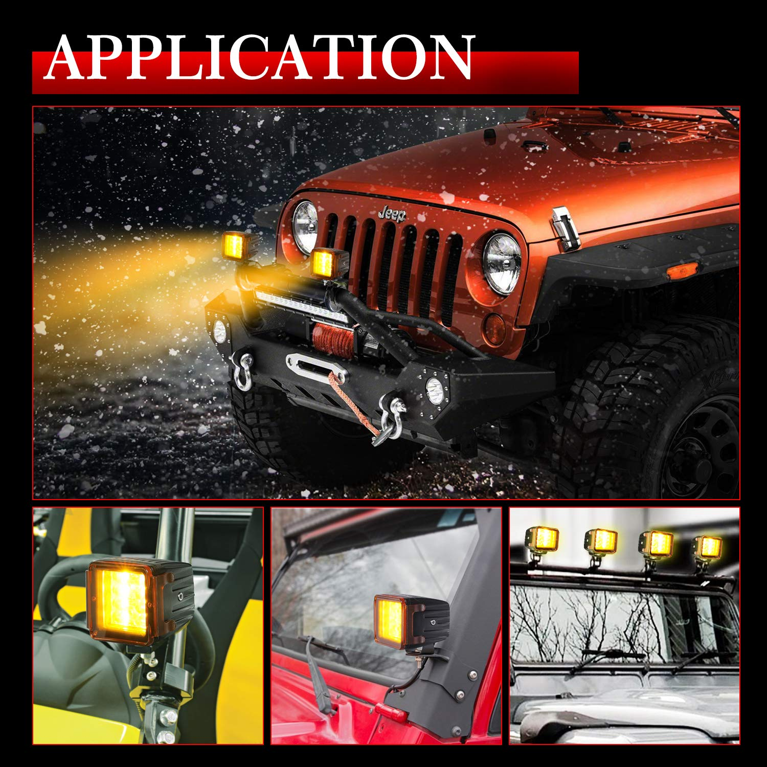 LED Pods Covers Black AKD Part 3 Inch Offroad Driving Lights LED Pods Work Lights Cover Light Bar Covers LED Cubes Covers PC Protective Lens Covers for Jeep SUV ATV UTV Marine