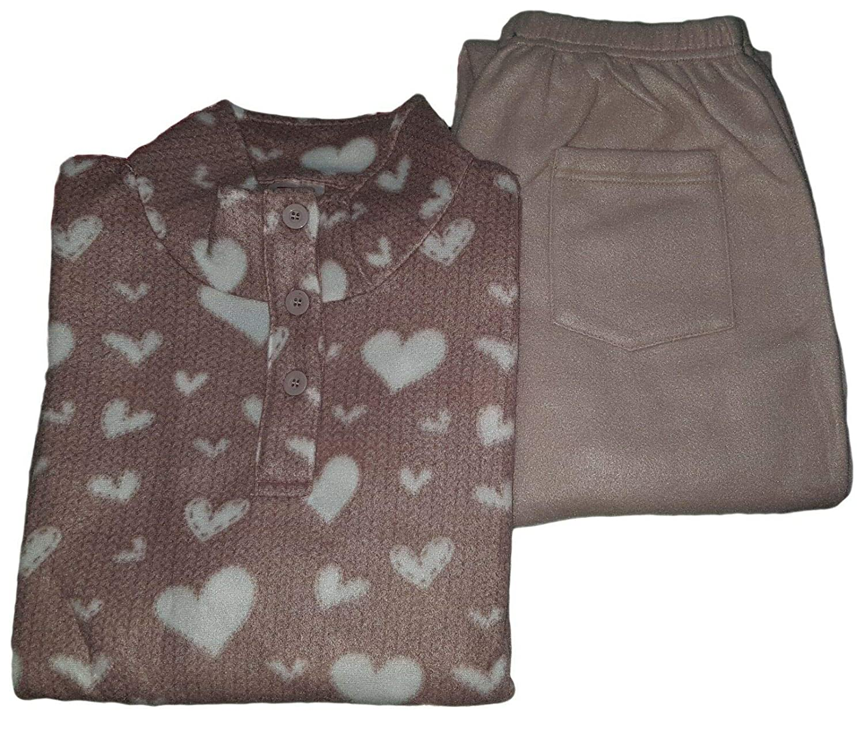 DEMONA Pigiama Donna Invernale Pile Caldo Vari Colori Maglia Pantalone PIGIAMONI Maniche Lunghe Pail Morbido Inverno Pile Offerta S M L XL