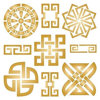 Taoísta Símbolos Stencil Reutilizable Plantillas Para