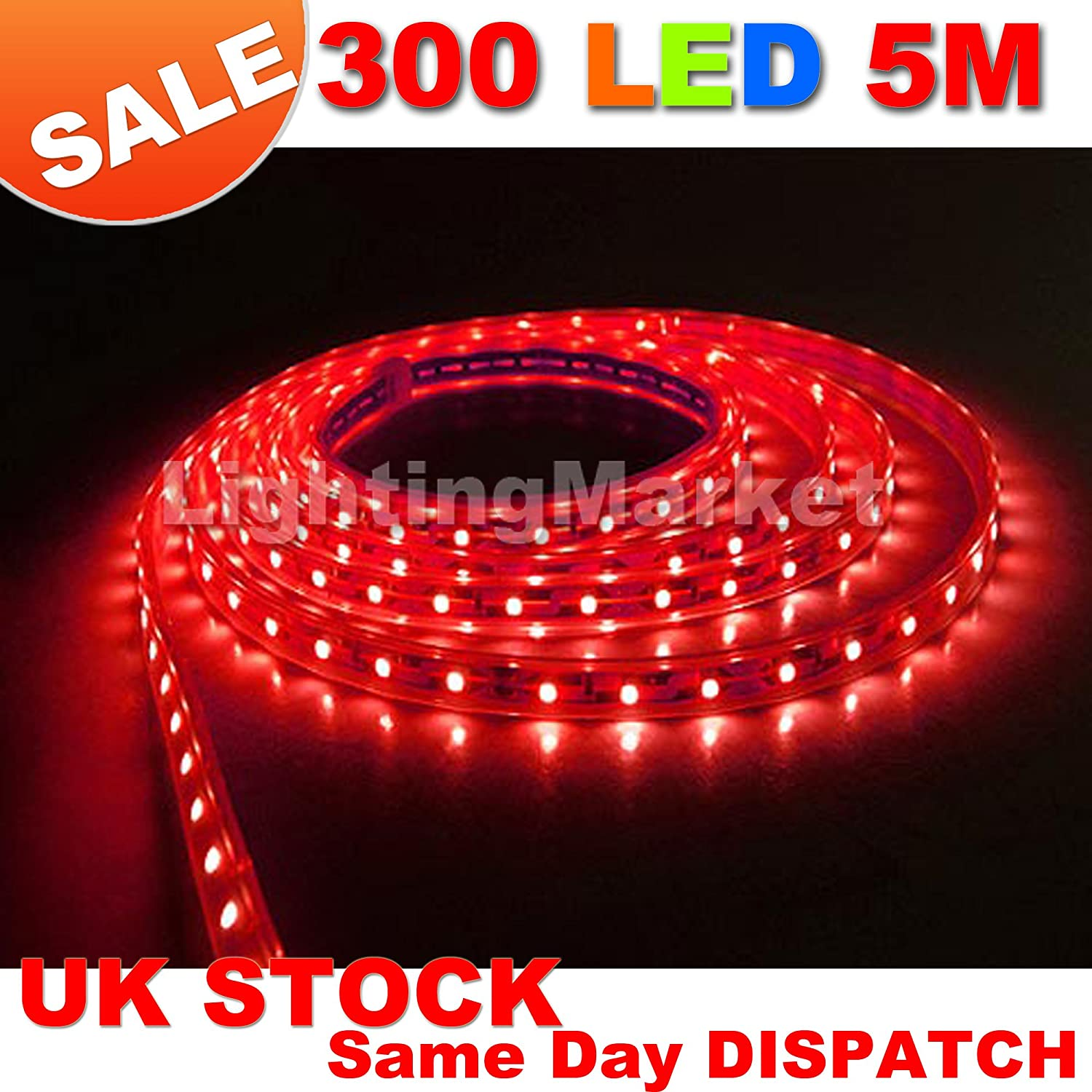 Jndee red 5m 164ft 300 led strip light flexible tape ribbon 5 jndee red 5m 164ft 300 led strip light flexible tape ribbon 5 metres with 300 smd leds dc 12v ideal for kitchens home led lighting bars aloadofball Gallery