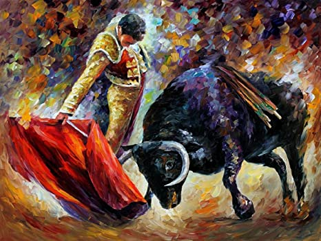 Osm Art Professional Artist Handmade Oil Painting Reproduction Bullfight  Canvas Pictures 100% Hand Painted Oil Painting Bull Unframed Spain Landscape