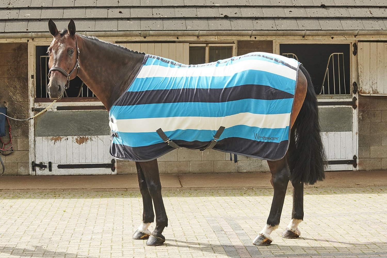 John Whitaker Holywell Striped Fleece Rug 4ft9 Aqua Grey bluee