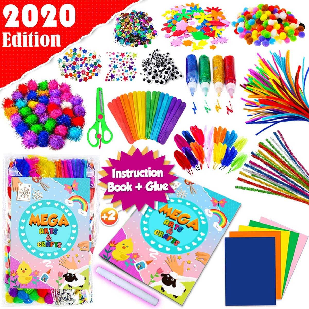 GoodyKing Assorted Arts and Crafts Supplies for Kids- D.I.Y. Collage School Crafting Materials Supply Set Pipe Cleaner- Craft Art Material Kit in Bulk for Kids Age 4 5 6 7 8 9 Years Old Boy Girls
