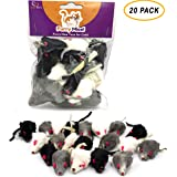 AXEL PETS 20 Furry Mice with Catnip and Rattle Sound Made of Real Rabbit Fur Interactive Catch Play Mouse Toy for Cat…