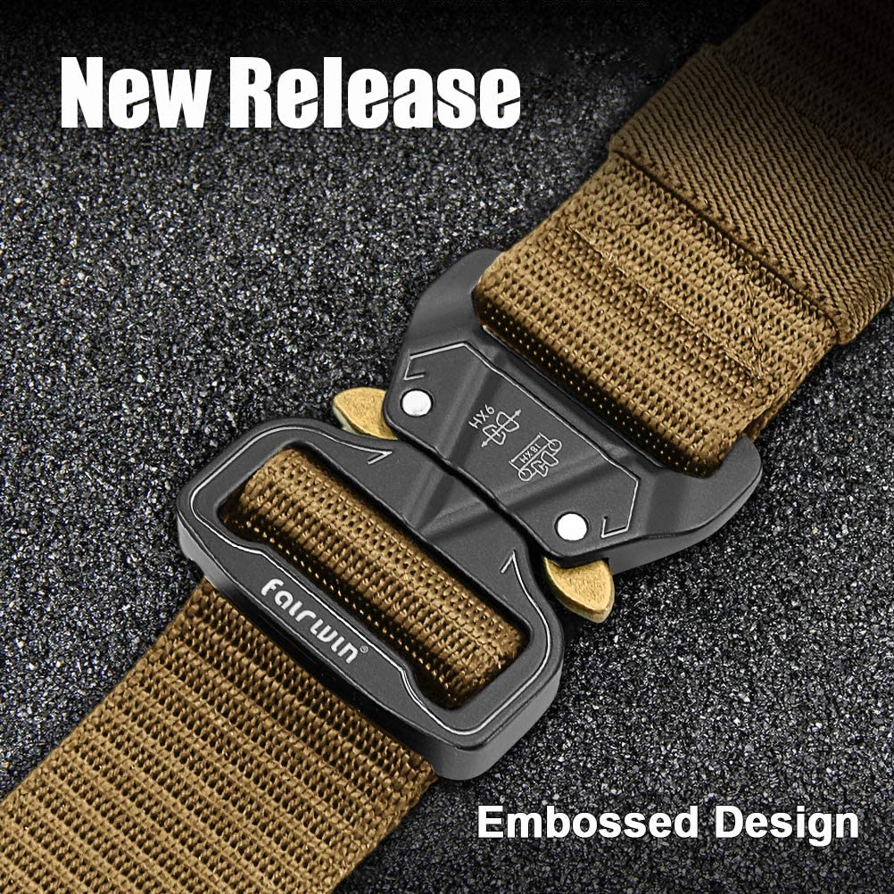 Adjustable Heavy Duty Belt Fairwin Tactical Belt Military Style Nylon Quick-Release Belts with Metal Buckle in Gift Box
