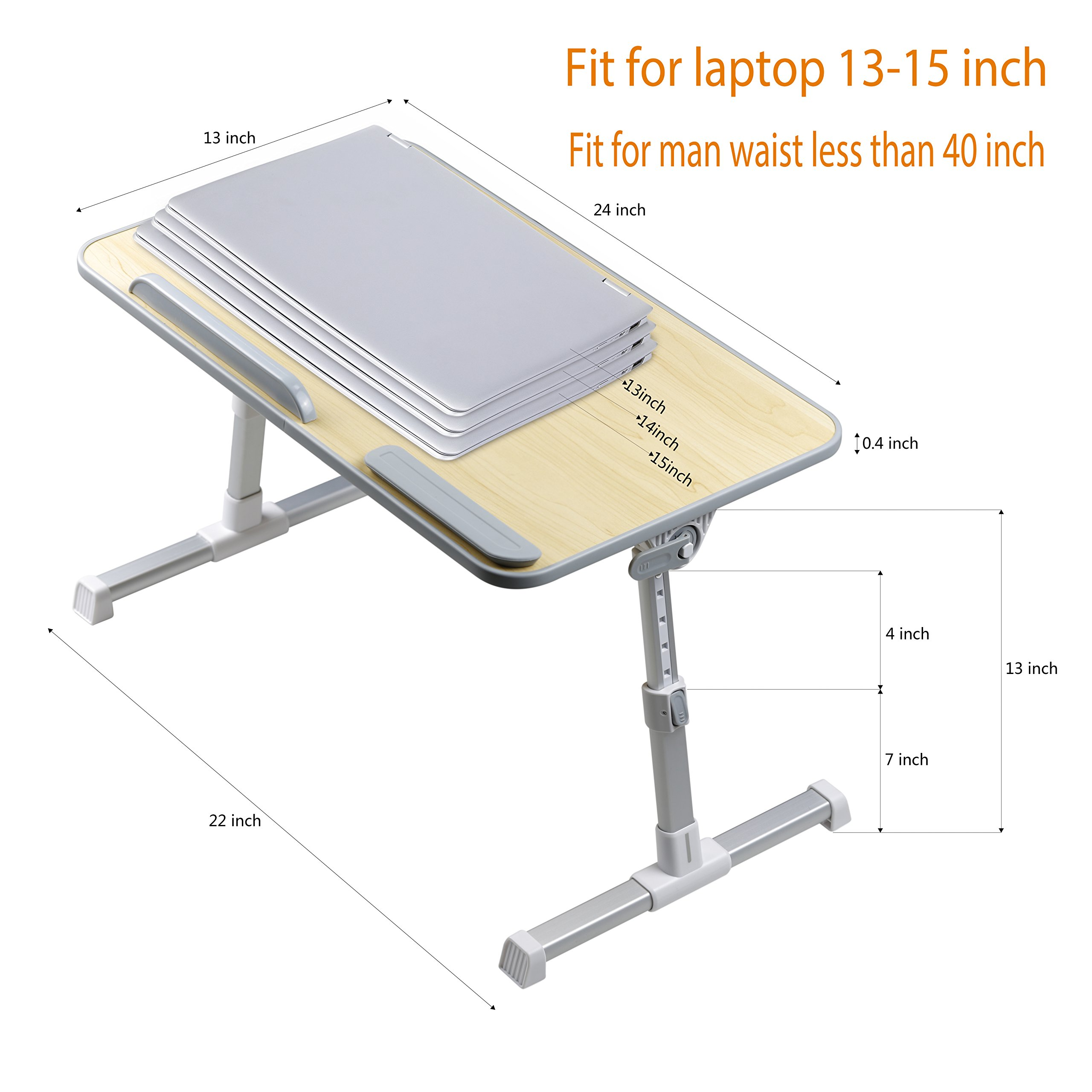 Adjustable Laptop Stand for Desk Bed Couch,Fit for 13-15inch Laptop,Foldable and Portable,Comfortable Ideal for Sit/Stand Lying Working by Aplomb (Image #3)