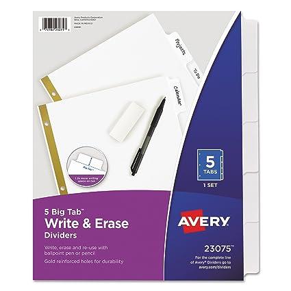 Amazon Avery 23075 Write Erase Big Tab Paper Dividers 5 Tab