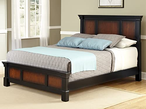 Home Styles Aspen Rustic Cherry and Black King Bed with Mahogany Solids, Cherry Veneers, Black Finish, and Carved Detailed Head and Footboard