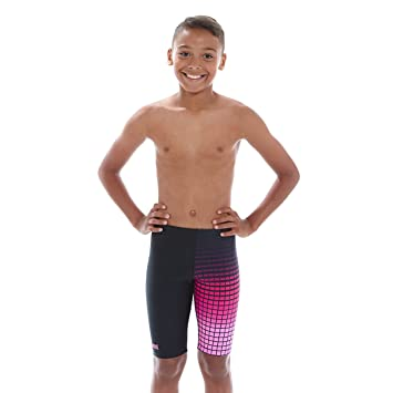 8086758abbedd Zoggs Boy's Darwin Jammer Swimming Trunks - Black/Pink, 29-Inch/14 ...