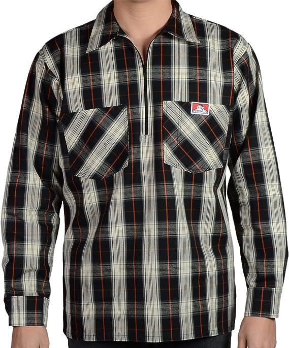 Ben Davis Mens Short Sleeve Plaid Half-Zip Work Shirt