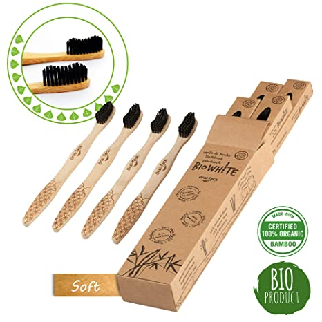 4 Bio White Cepillos Dentales Blanquadores de Bambu puro, Biodegradable. Recomendados por Dentistas de