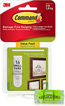 Command Picture Hanging Kit| 3m Damage-Free Strips & Leveler| 16-Pair Small Strips| Perfect for Hanging Small Frames, Photos, Pictures on Walls/Drywalls| No Nail/Hook Damage (1)