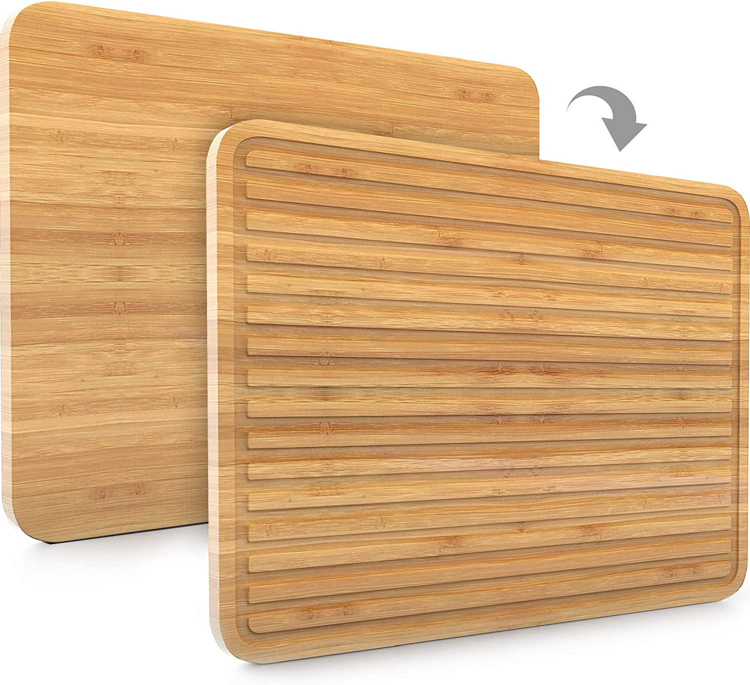 Large Bamboo Cutting Board For Kitchen Wood Cutting Board Butcher Block Knife Friendly For Chopping Meat And Vegetables Sleek 2 In 1 Drain Board 17 X 12 5 Kitchen Dining