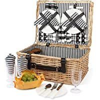 4 Person Picnic Basket, Large Willow Hamper Set with Large Compartment, Handmade Large Wicker Picnic Basket Set with…