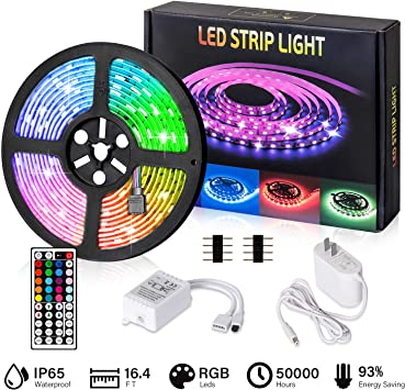 5M 3528 Flexible Cutable 300LED RGB Light Strip 12Volt Remote Mood Tape SMD Lamp