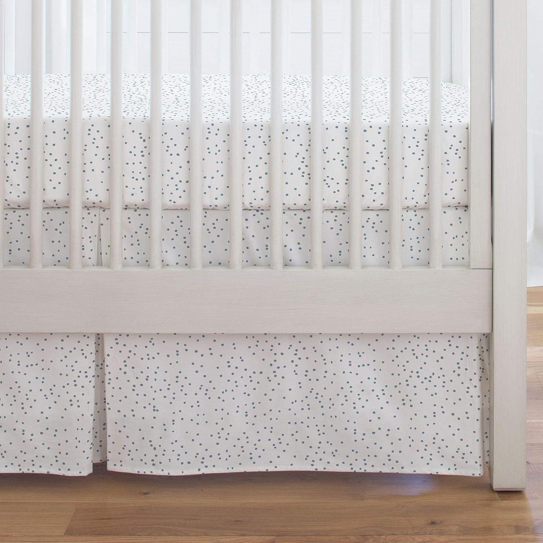 Organic 100/% Cotton Crib Skirt Carousel Designs Steel Blue Snowfall Crib Skirt Single-Pleat 17-Inch Length Made in The USA