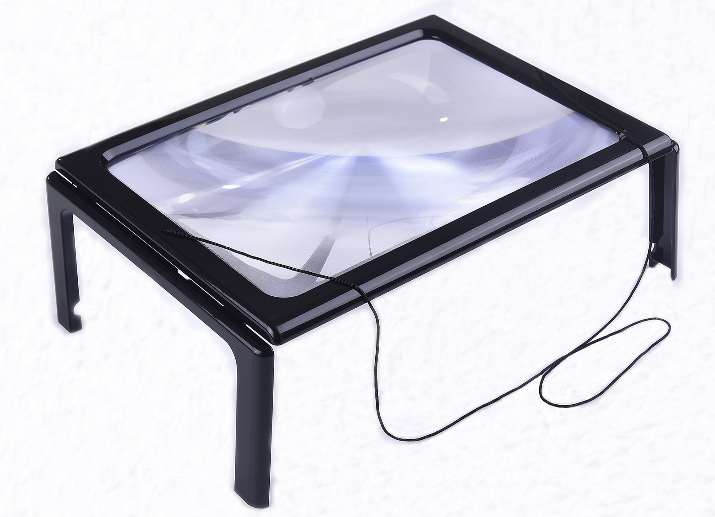Hands-Free Magnifier Magnifying Glass with LED Lighted Illuminated Large Rectangular Full-Page Foldable3X Desktop Portable For the Elderly