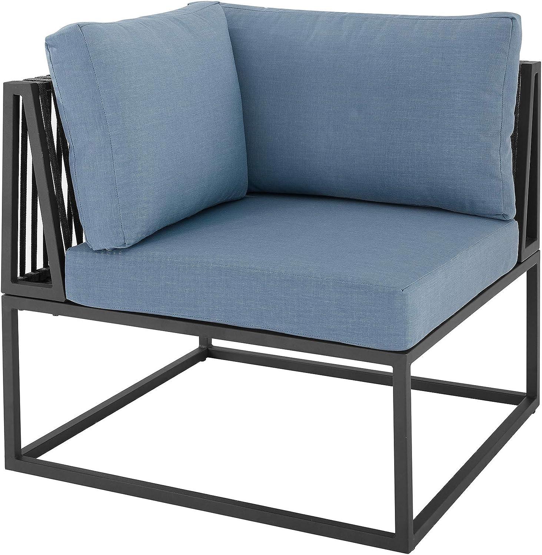 Walker Edison Furniture AZRTRINCRBU Outdoor Patio Metal Modern Modular Corner Chair with Cushions, Blue