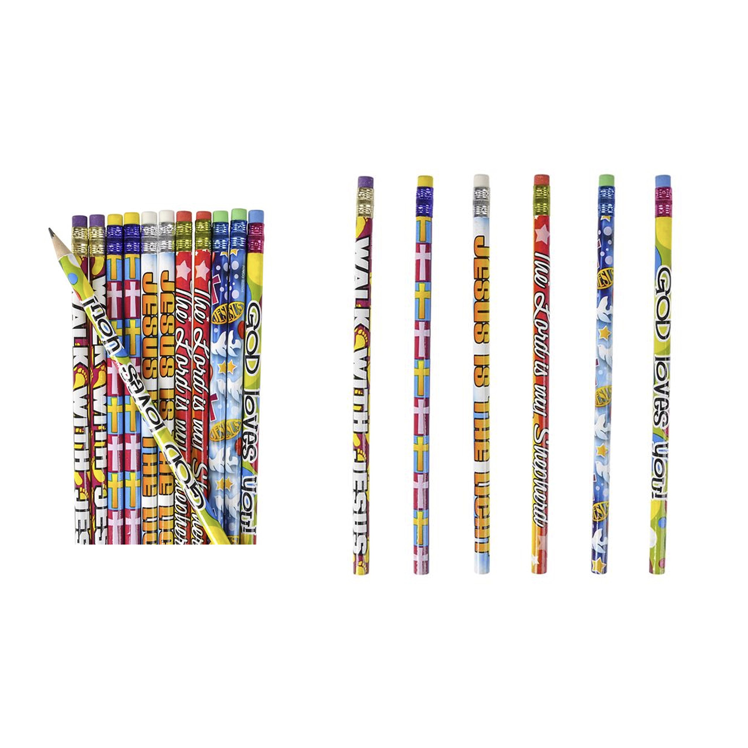 4 Dozen (48) Religious Pencils - Pencils #2 Lead - Classroom Rewards Teacher VBS Education Jesus GOD Loves Me by JUST 4 FUN