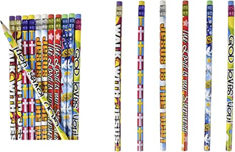 4 Dozen (48) Religious Pencils - Pencils #2 Lead - Classroom Rewards Teacher VBS Education Jesus GOD Loves Me