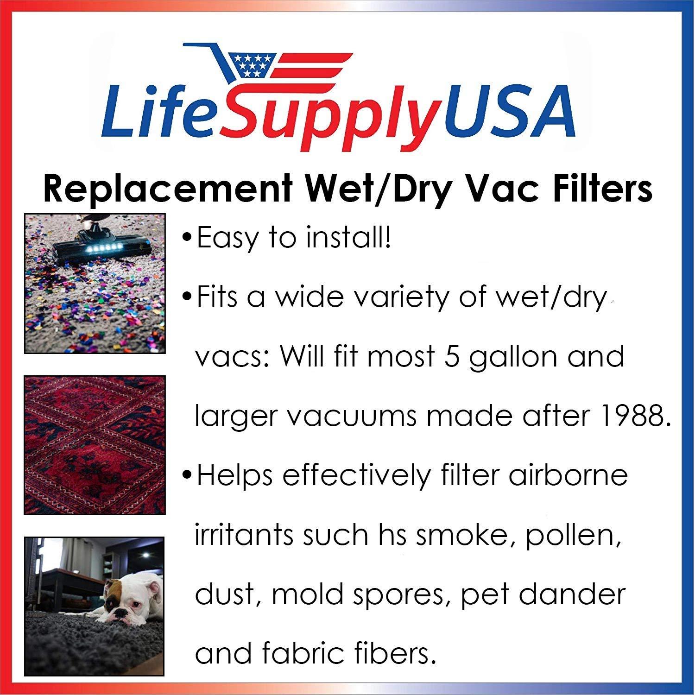 LifeSupplyUSA Replacement Filter for ShopVac 90304 Shop Vac Type U Wet//Dry Vacuum Cartridge Filter