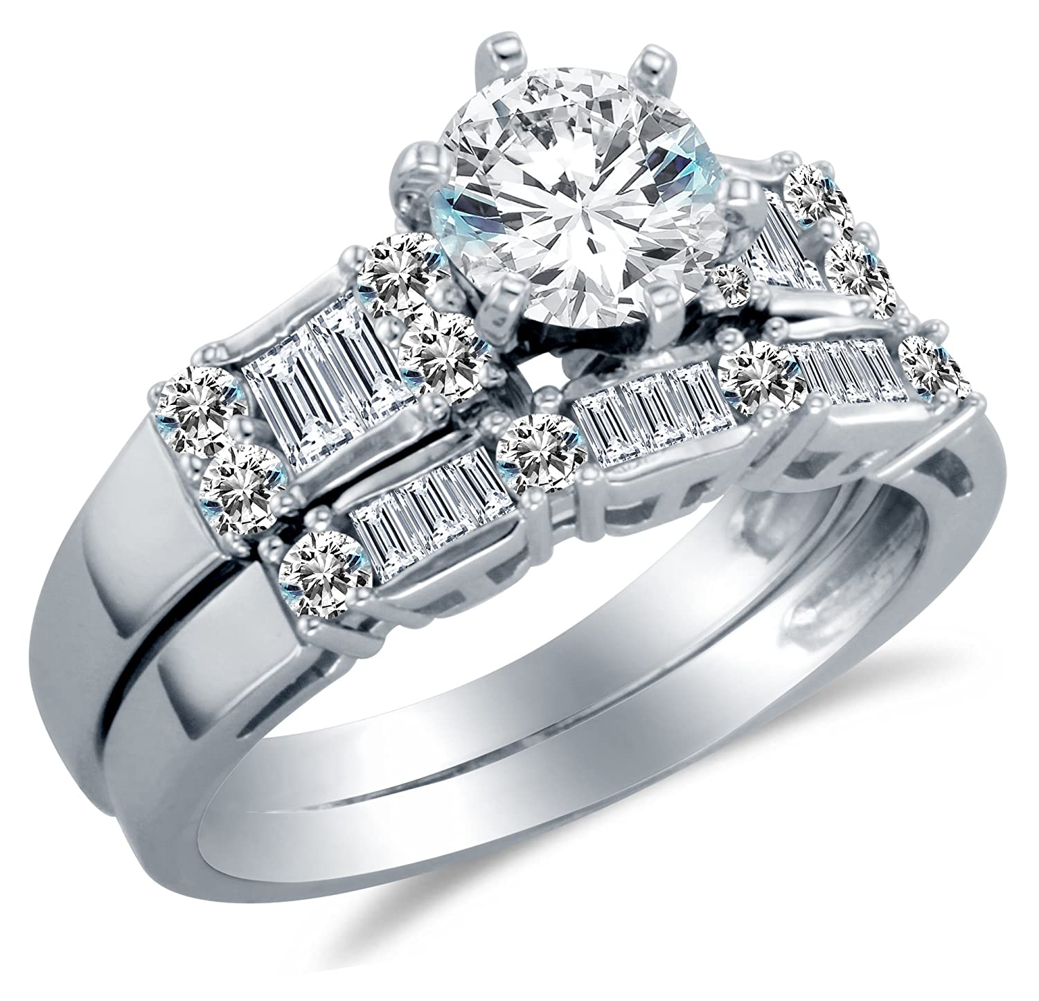 14K White Gold Cubic Zirconia Engagement Ring with Matching Wedding ...