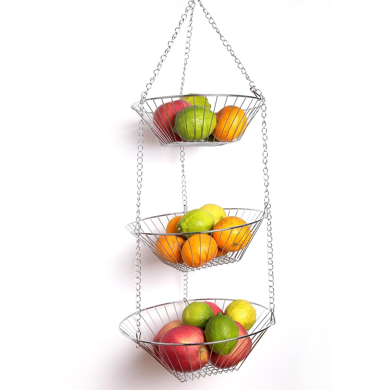 Amazon.com | Creative Home Chrome Plated 3 Tier Adjustable Kitchen Storage Hanging  Basket: Kitchen Hanging Baskets: Bowls