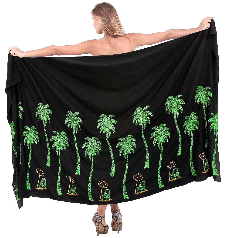 La Leela bestickte Palme Rayon schwarz alle in einem /Badeanzug/Strand loung Abnutzung/Badeanzug vertuschen/Tunika/sundress/Bikini Schlitz Rock/Damen Pareo/Sarong Kleid 198x99 cm wickeln