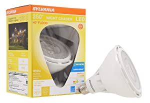 SYLVANIA 74793 LED Night Chaser Ultra PAR38 250W Equivalent 2650 Lumen, Replacement for Halogen Flood Spot Light Medium Base E26, Dimmable 3000K-Bright, Bright White
