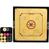 GSI Gloss Finish Carrom board along with Set of coins, striker and powder (Large 32 inch 4mm)