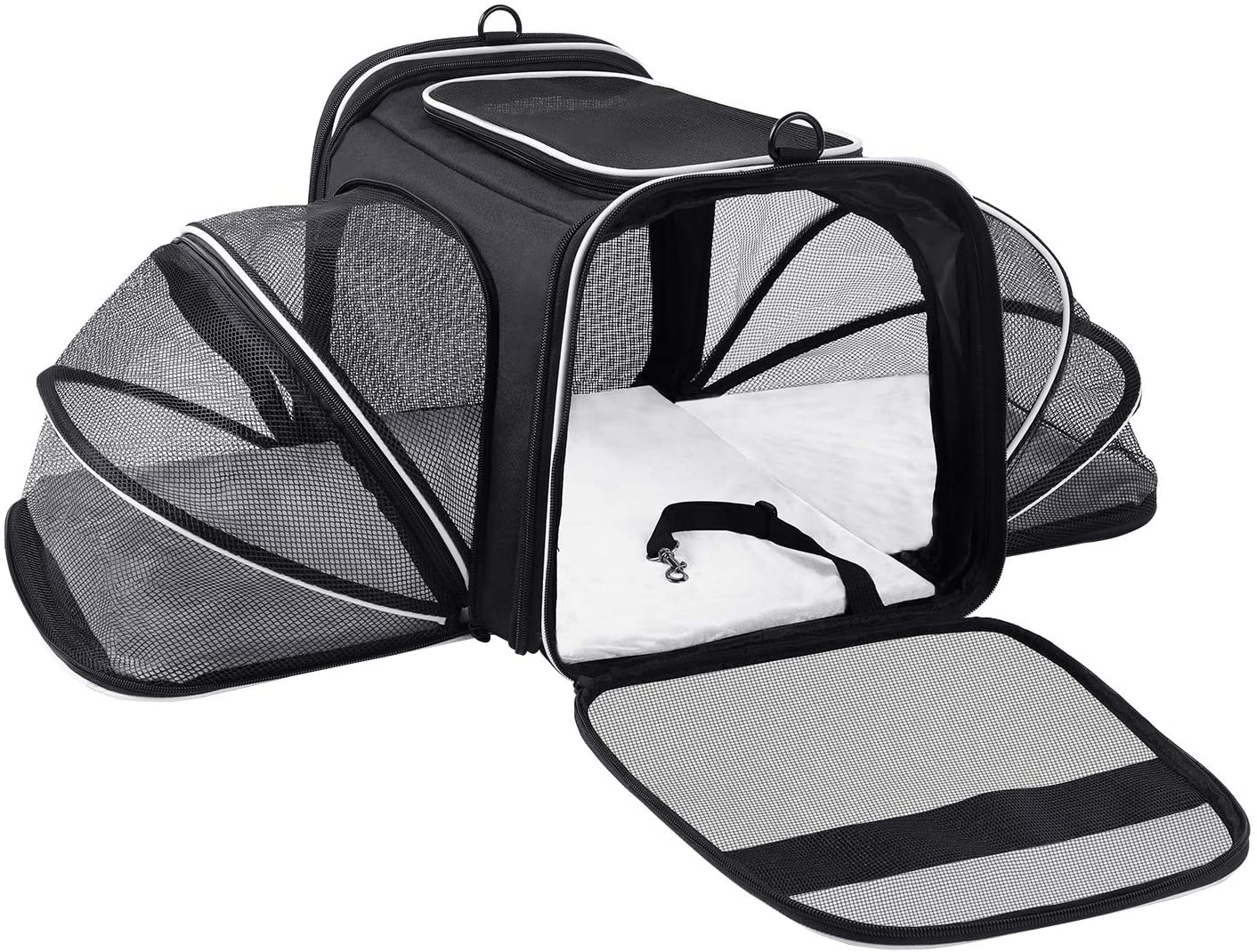 MASKEYON Airline Approved,Large 2 Sides Expandable Dog Carrier,4 Door,3 Zippered Pockets,3 Fleece Pads,Shoulder Strap,Collapsible Soft Sided Pet Travel Carrier Bag Kennel for Cats Kitty and Small Dogs