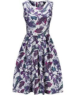 Women Hepburn Sleeveless Vintage Prom A Line Floral Printed Swing Party Cocktail Dresses