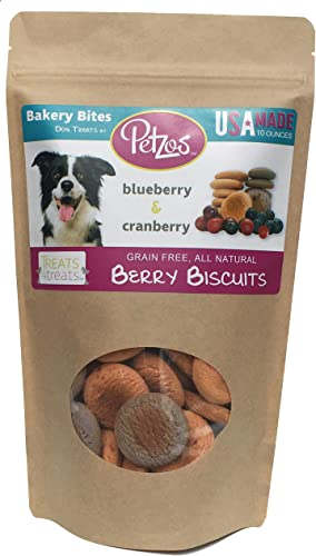 Petzos Grain Free Dog Treats 2 Flavors – Cranberry Blueberry Dog Biscuits Hypoallergenic Gluten Free Dog Treats Hand-Crafted by The Batch 100 All Natural Gourmet USA Made Dog Treats