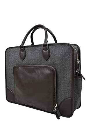 c8e9bc8161 Image Unavailable. Image not available for. Color: Brooks Brothers Mens  Wool and Genuine Leather Soft Body Rectangle Briefcase Bag Luggage Grey Dark  Brown