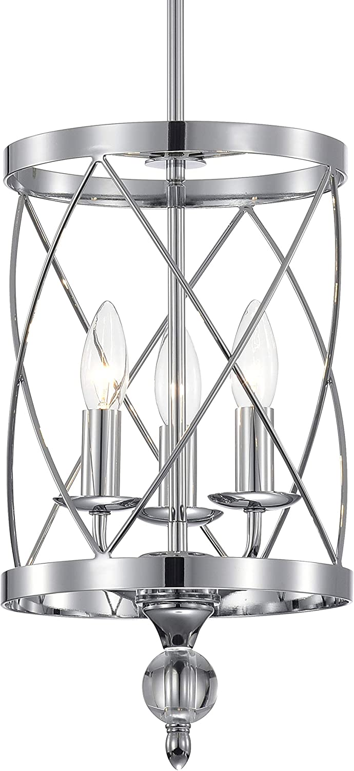 Crystal Chandelier Chrome Finish Industrial Pendant Light 3-Light,Cylinder Metal Shade