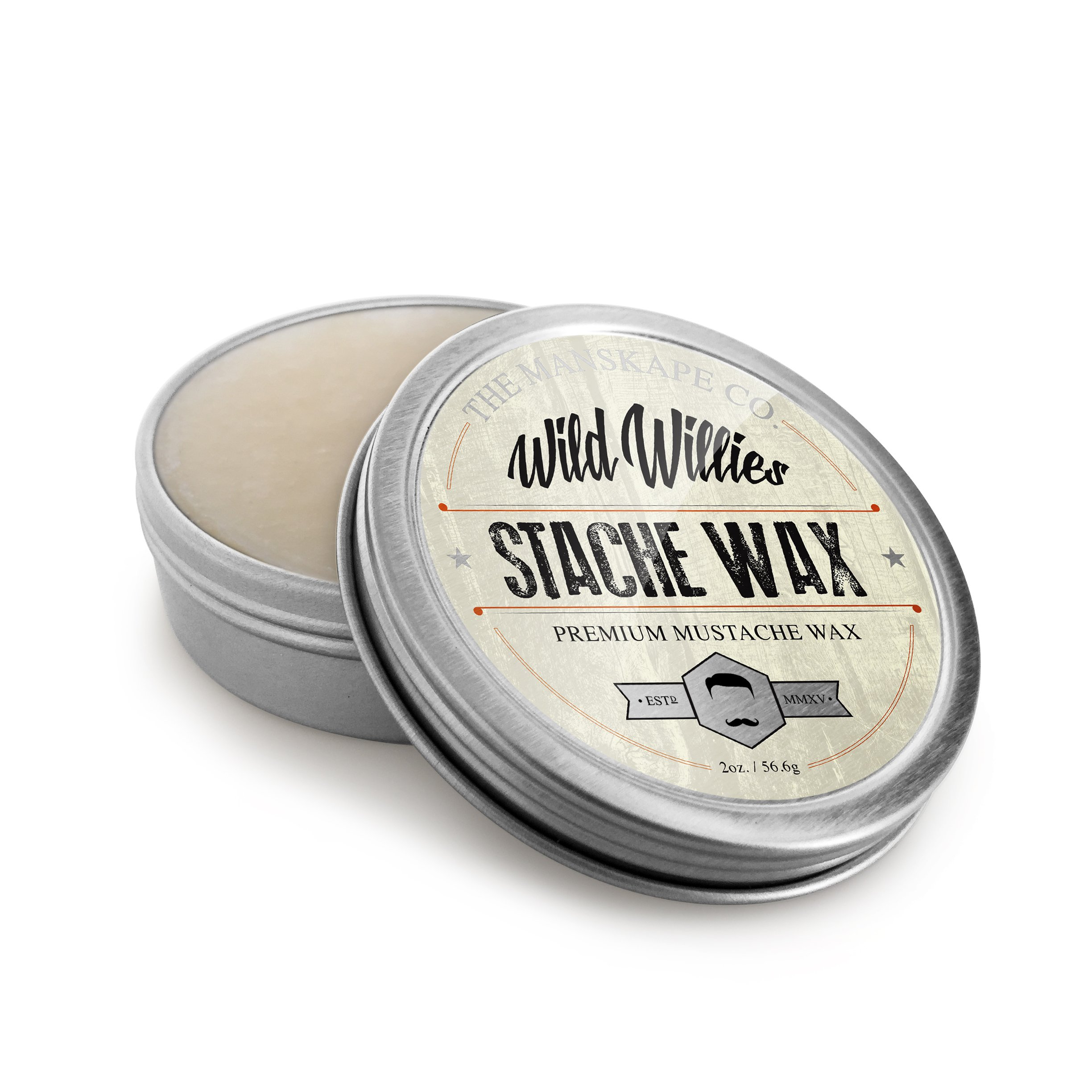 Wild Willie's All Natural Mustache and Beard Grooming Wax For Men - The Only Hard Wax with 7 Organic Ingredients for All Day Strong Hold While Treating Your Mustache at the Same Time. 2 oz.