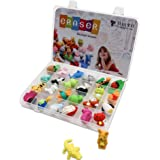TOAOB 24PCS Novelty Puzzle Animal Eraser Collection With Plastic Compartment Storage Box