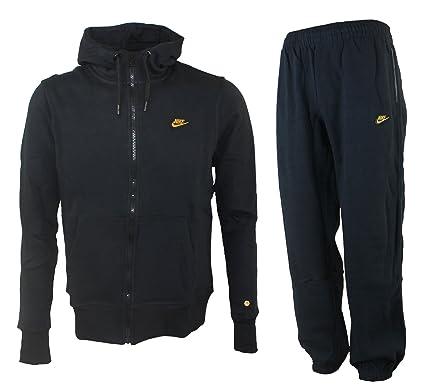 1ae848008b77 Nike Mens Fleece Jog Suit Hooded Swoosh Tracksuit Hoodie JogPant Set Black  Grey (Small