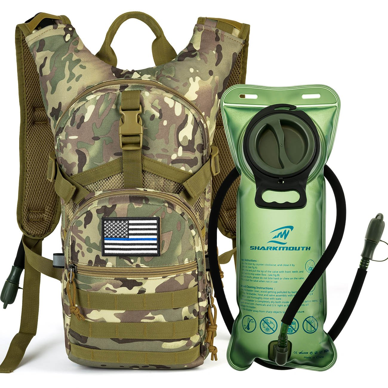 SHARKMOUTH Tactical MOLLE Hydration Pack Backpack 900D with 2L Leak-Proof Water Bladder, Keep Liquids Cool for Up to 4 Hours, Outdoor Daypack for Cycling, Hiking, Running, USA Flag Patch, CPTan by SHARKMOUTH