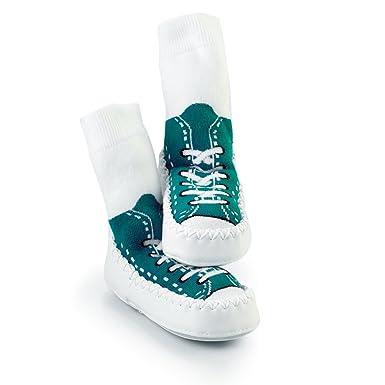 Pantuflas con forma de zapatillas deportivas de Mocc Ons , color Azul, talla 12-18 meses: Sock Ons: Amazon.es: Ropa y accesorios