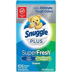 Snuggle Plus Super Fresh Fabric Softener Dryer Sheets with Static Control and Odor Eliminating Technology, 105 Count (Packaging May Vary)