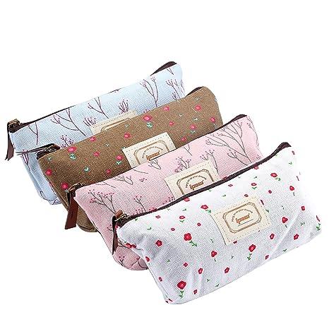 BIGBOBA 4pcs Mini lienzo monedero mujer cartera monedero bolso de la bolsa Holder bolsa de almacenamiento