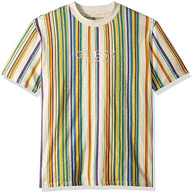 178f82ff3997 GUESS Men's Short Sleeve Riviera Stripe Crew Neck Shirt   Amazon.com