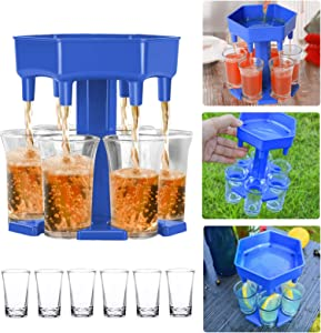 6 Ways Shot Glass Dispenser and Holder, Carrier Caddy Liquor Dispenser with 6 Cups and 6 Stoppers, Wine Beverage Cocktail Quick Shot Buddy Dispenser for Bar, Drinking, Games, Gifts or Party