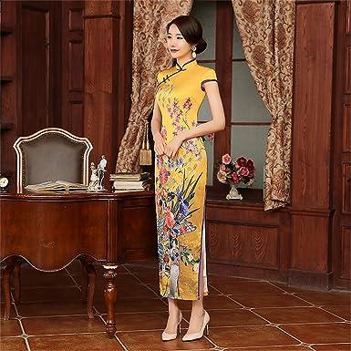 Damen Kleider 2018 chinesische Hochzeits-Kleid-lange kurze Hülse ...
