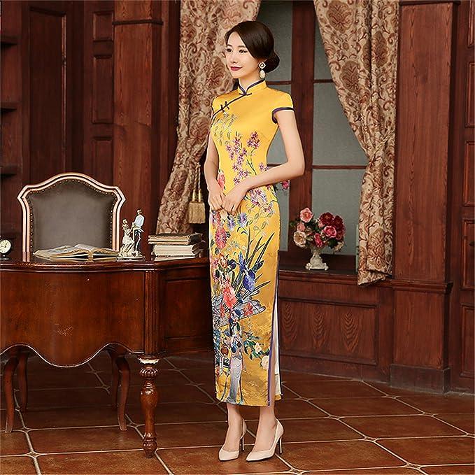 Profitd Donna Vestiti Matrimonio cinese Qipao abito tradizionale cinese  abito da sposa lungo manica corta cheongsam cinese tradizionale  Amazon.it   ... cec7ea01b6c