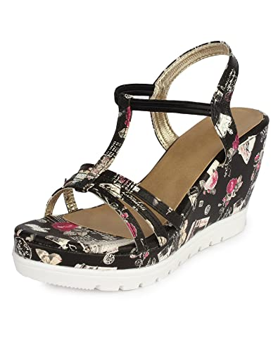 19c9ead80e Do Bhai Printed-Sandal Wedges for Women: Buy Online at Low Prices in India  - Amazon.in