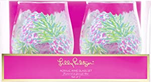 Lilly Pulitzer Acrylic Wine Glass Set Swizzle In One Size