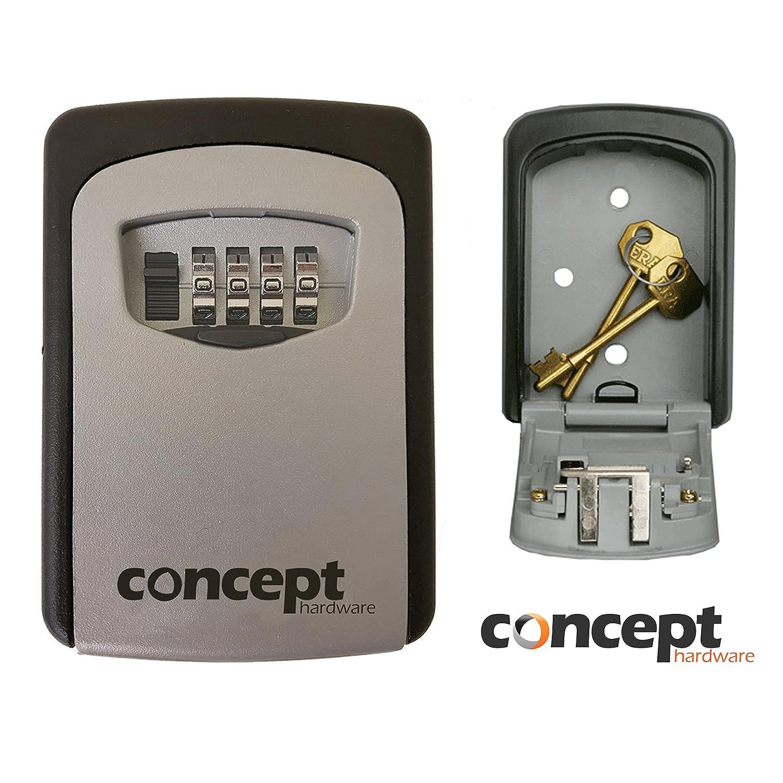 Caja de almacenamiento de seguridad para guardar llaves de repuesto, caja apta apta estar en exteriores, se bloquea mediante un có digo, se monta en la pared se bloquea mediante un código Concept Hardware